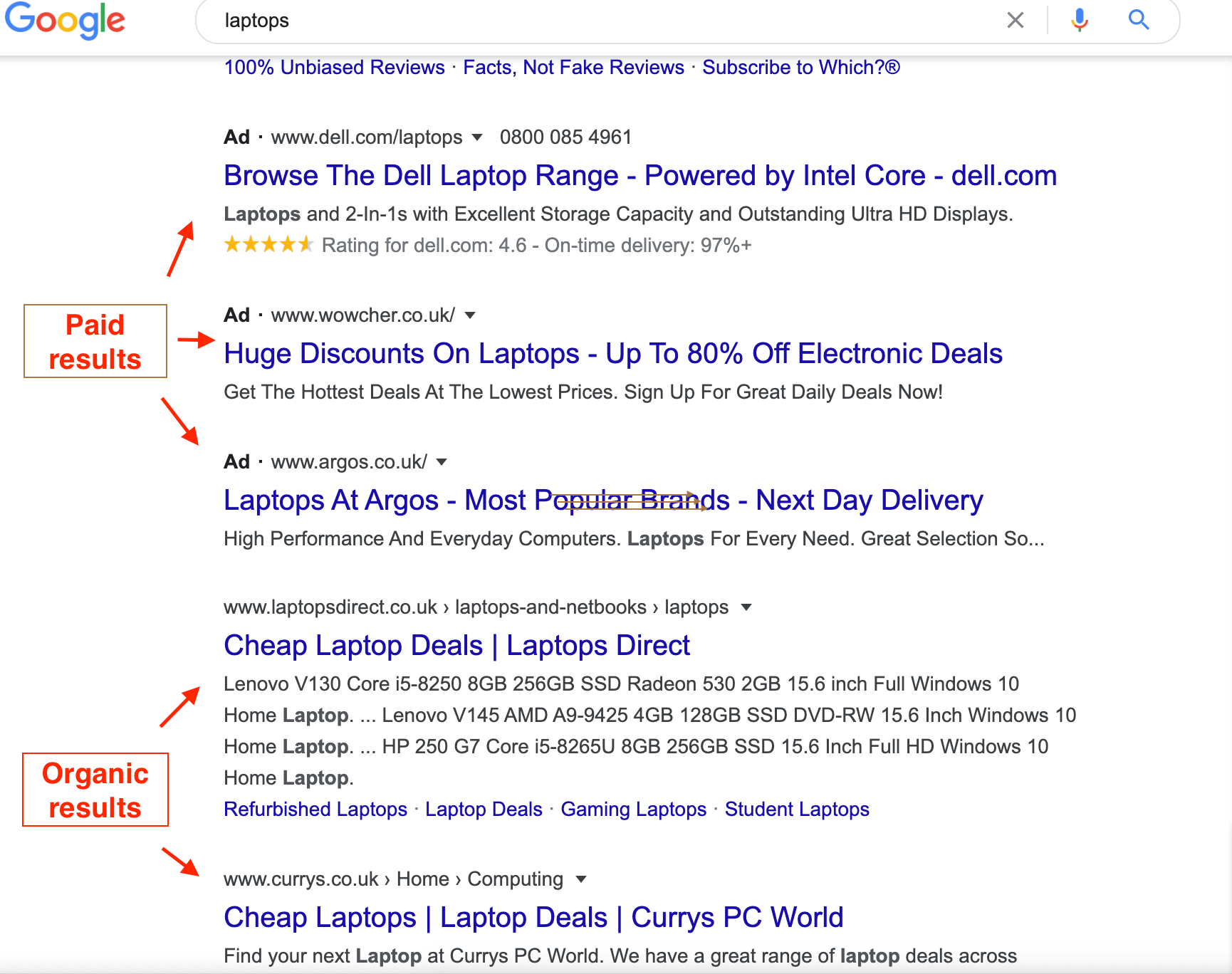 SERP paid and organic for the term 'laptops'